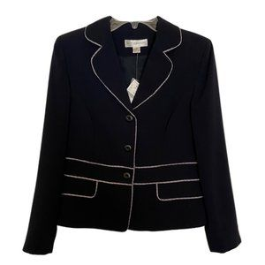 Petite Sophisticate Navy Blue and White Jacket
